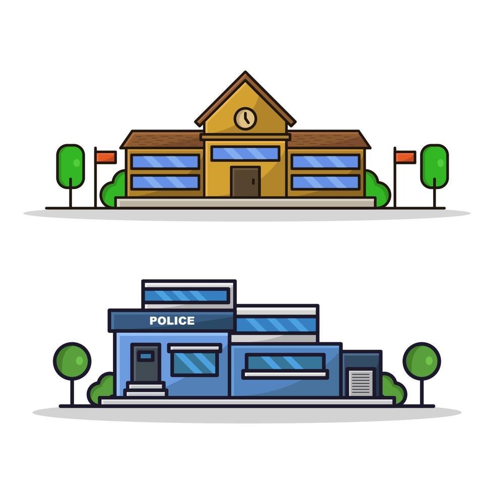 Schule und Polizeistation auf weißem Hintergrund vektor