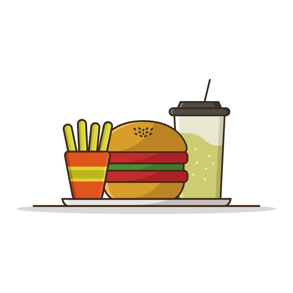 Sandwich und Getränke auf weißem Hintergrund vektor