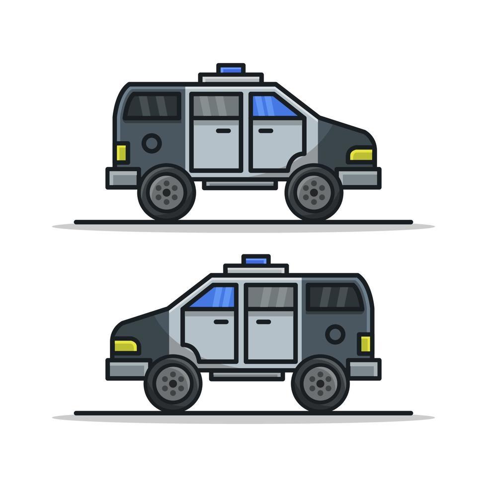 polisbil på vit bakgrund vektor
