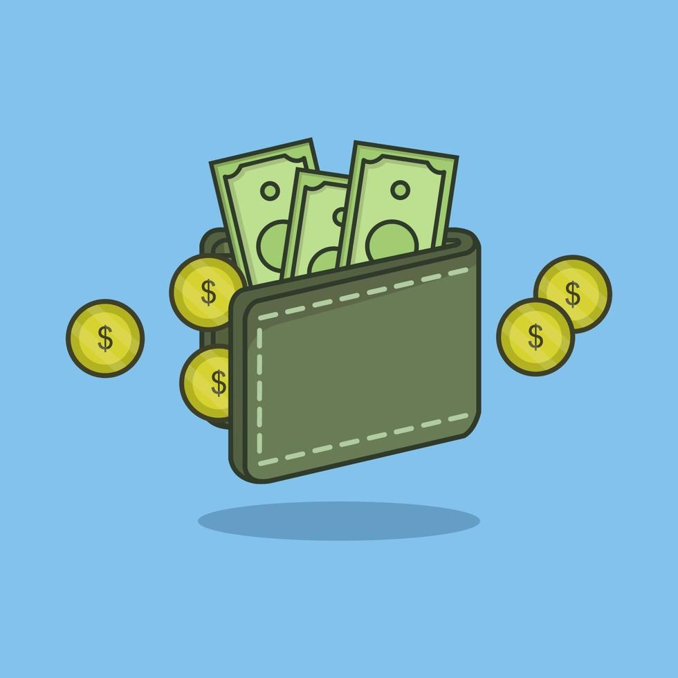 plånbok på blå bakgrund vektor
