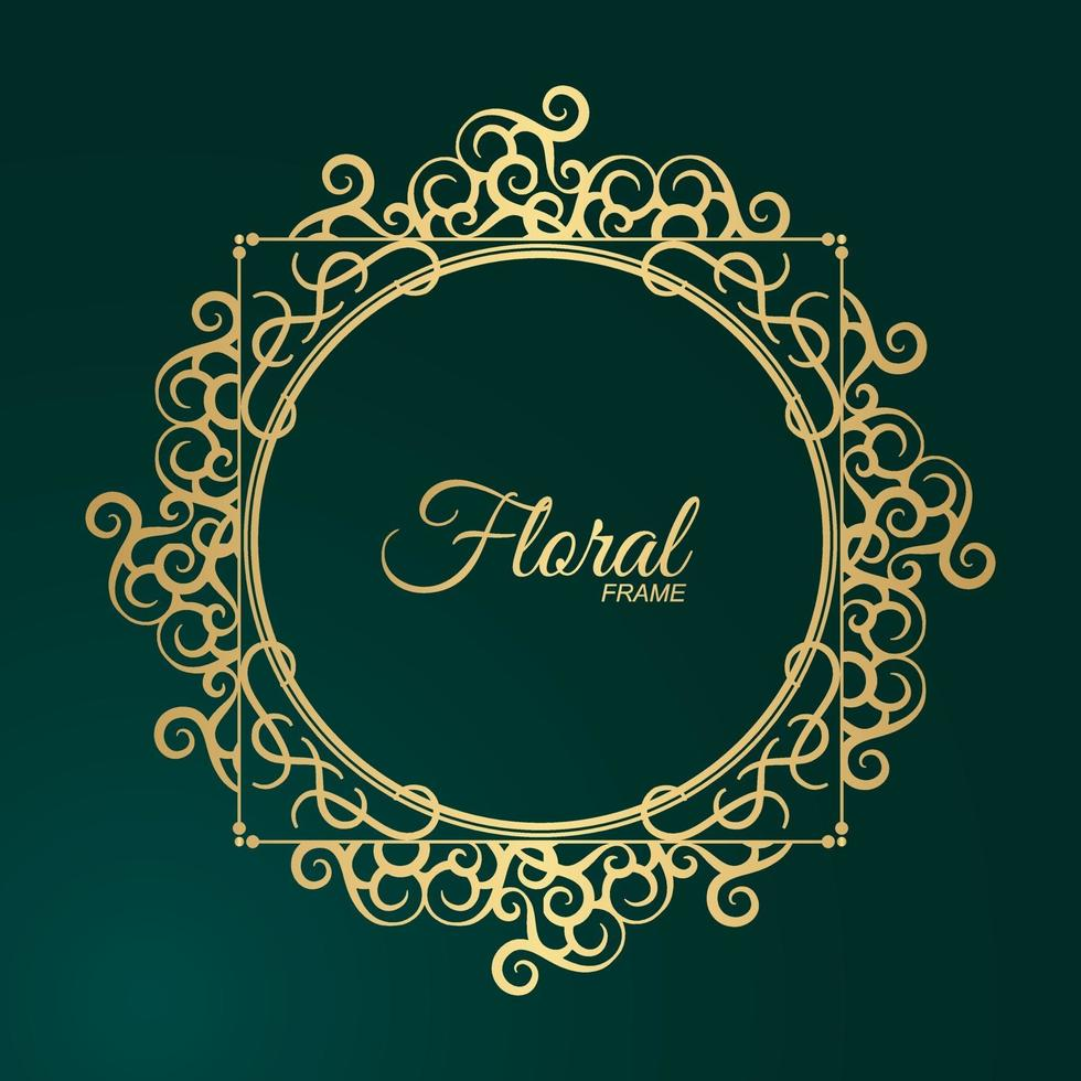 lyxig guld rund blommig ram design vektor