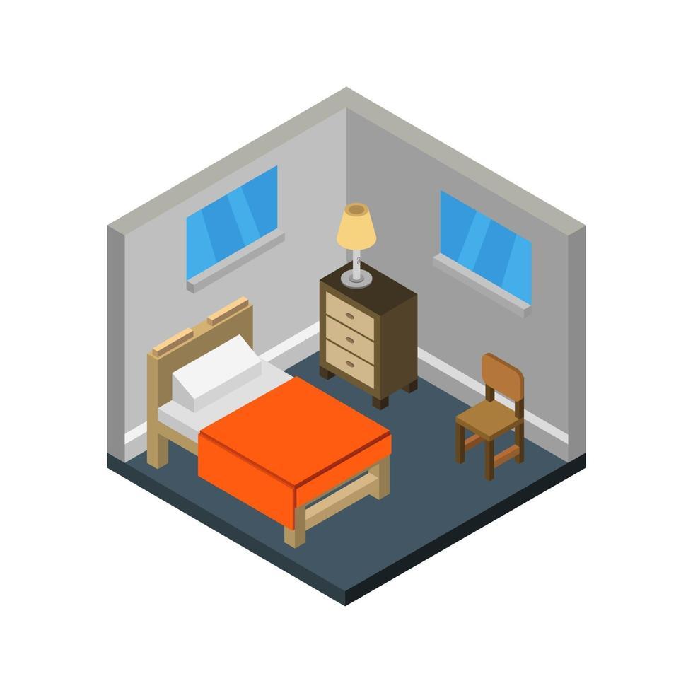 isometriskt sovrum på vit bakgrund vektor
