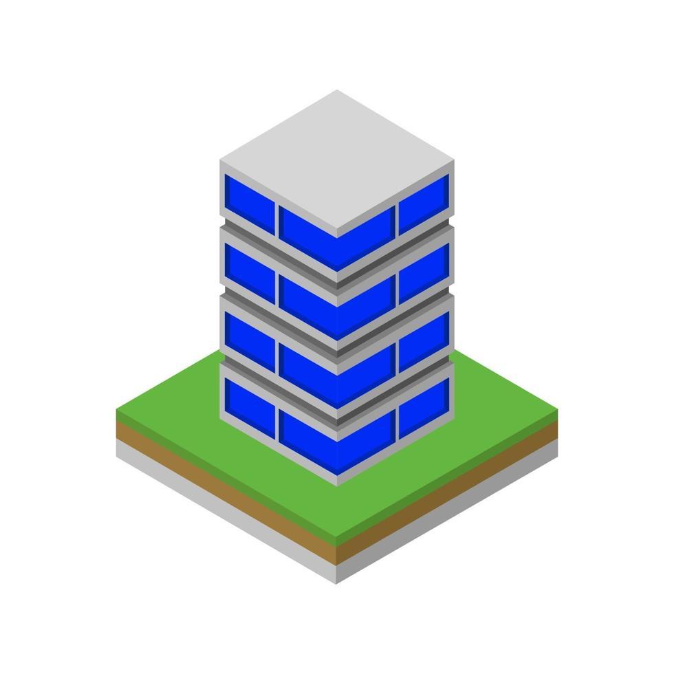 isometrisk skyskrapa på vit bakgrund vektor