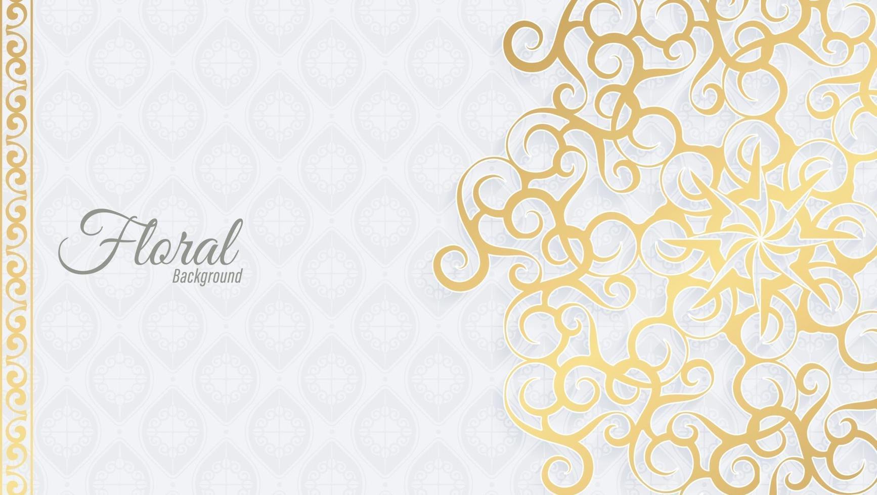 weißer und goldener Blumenornamenthintergrund vektor