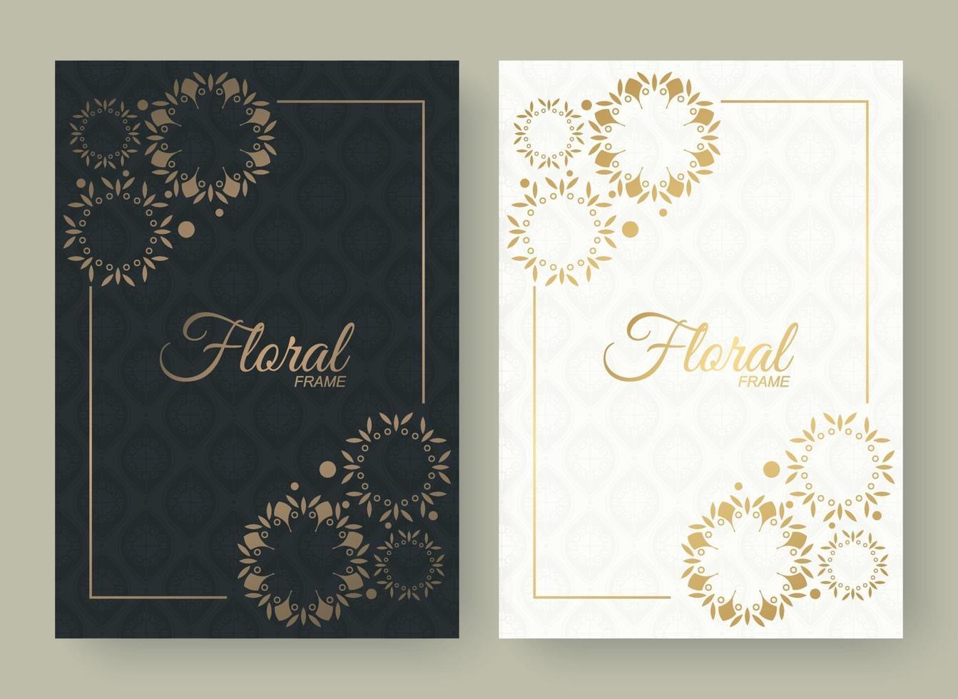 guld dekorativa dekorativa blommor ram kort bakgrund vektor