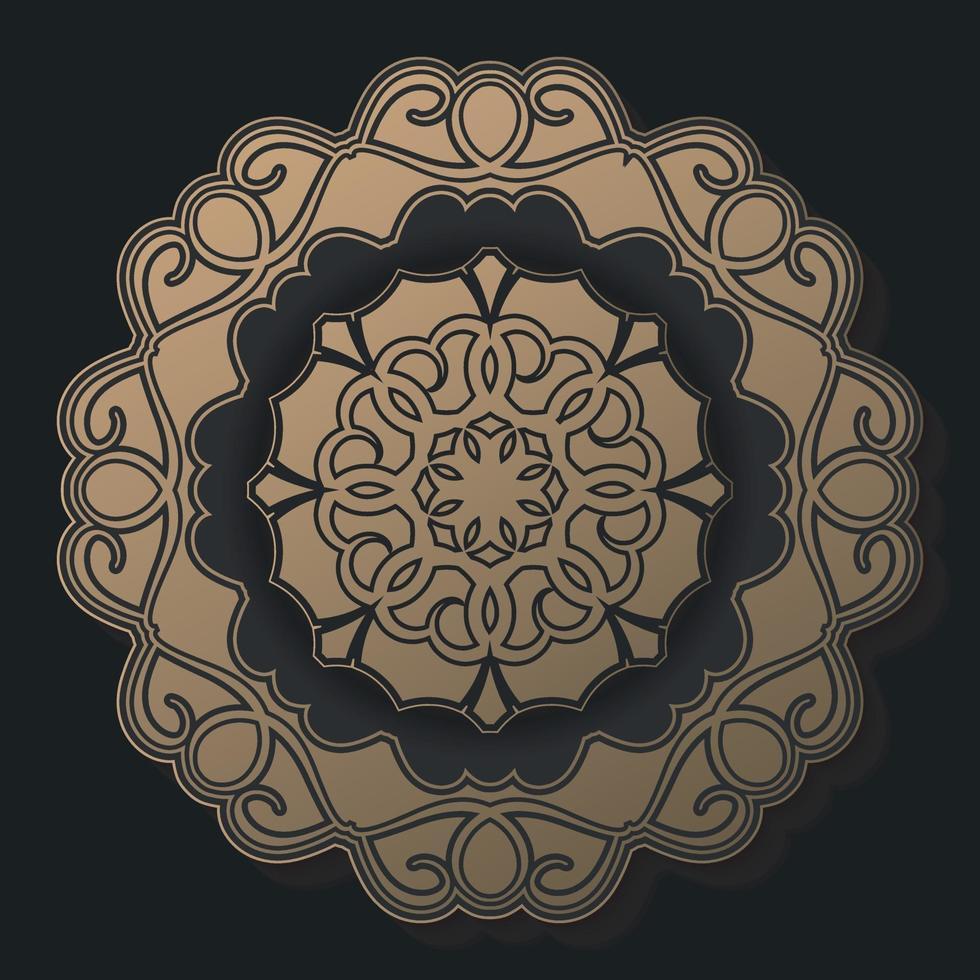Luxus dunkle Mandala Hintergrund Design-Vorlage vektor