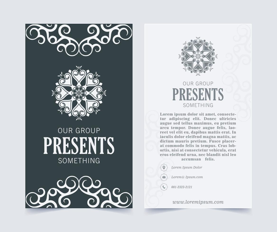 Luxus Visitenkarte und Vintage Ornament Logo Vektor Vorlage. Retro elegant blüht dekorative Rahmengestaltung und Musterhintergrund.