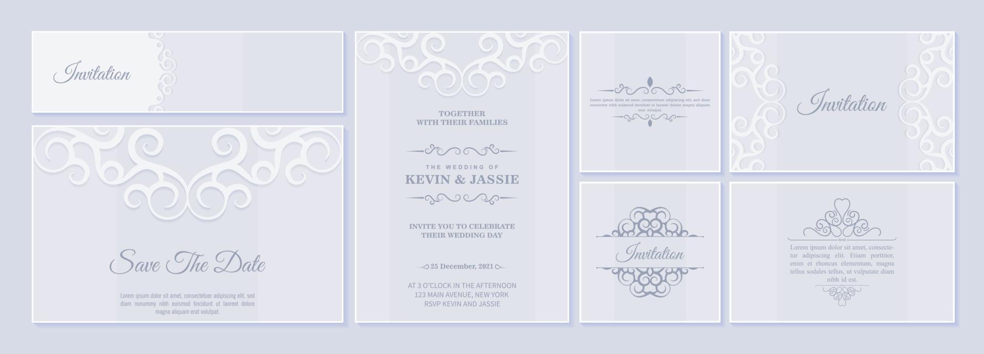 uppsättning bröllopinbjudningskort med blommiga ornament vektor