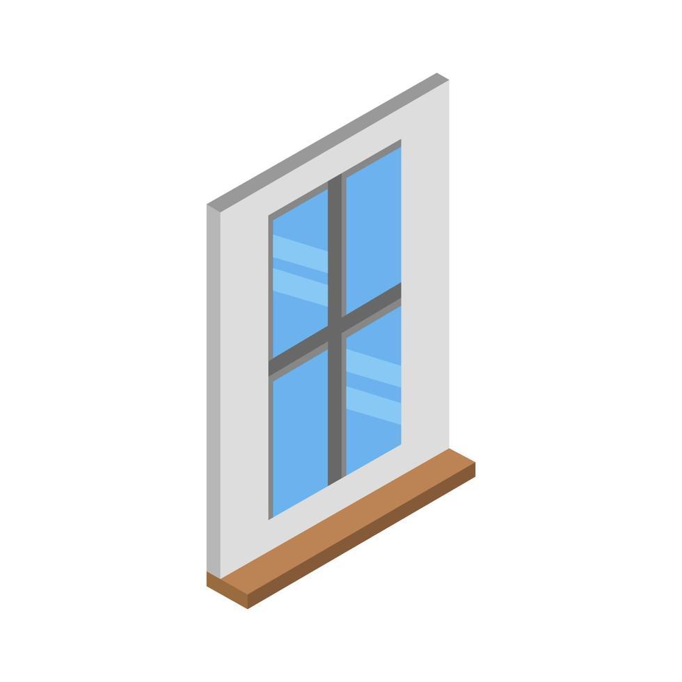 isometrisk fönster på vit bakgrund vektor