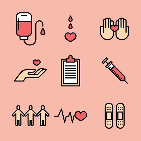 Beschriebenen Blutspenden Icons vektor