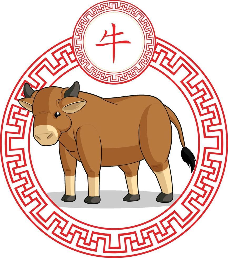 kinesiska stjärntecken ko tjur ox djur tecknad månen astrologi ritning vektor