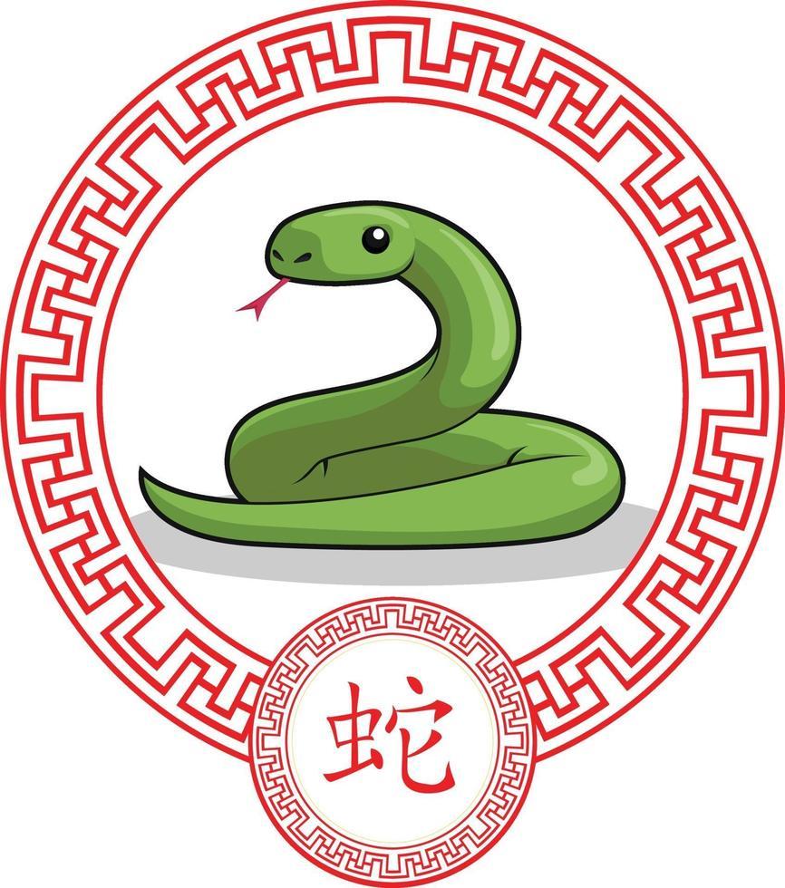 kinesiska stjärntecken djur orm ormen tecknad vektorritning vektor