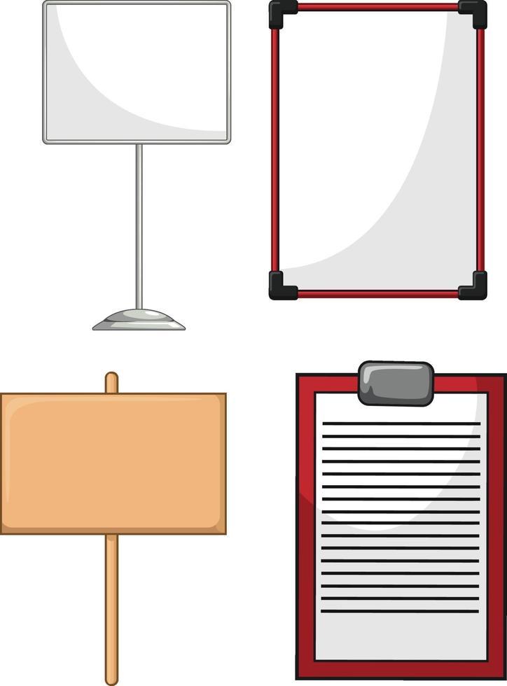 informationstavla whiteboard trä planka tecknad vektorritning vektor