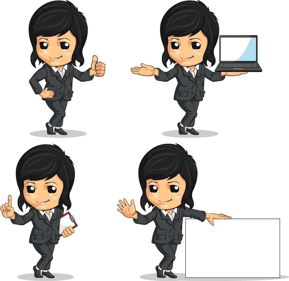 kvinna kontorsarbetare affärskvinna maskot tecknad vektorritning vektor