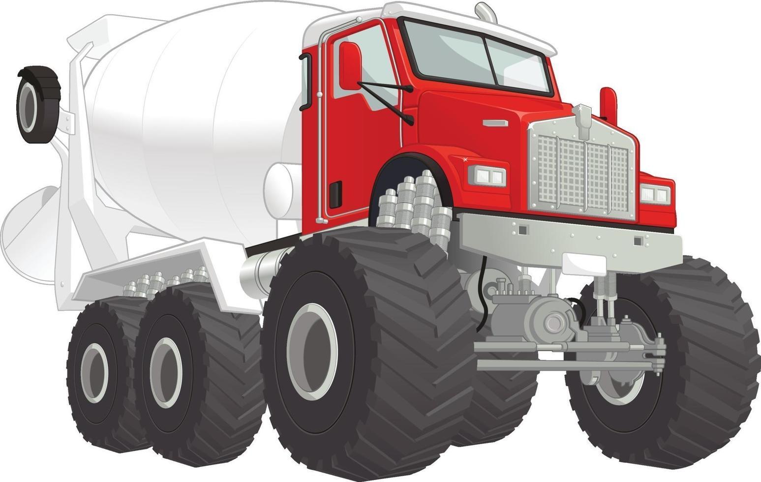 monster truck cement mixer bil tecknad vektorillustration ritning vektor