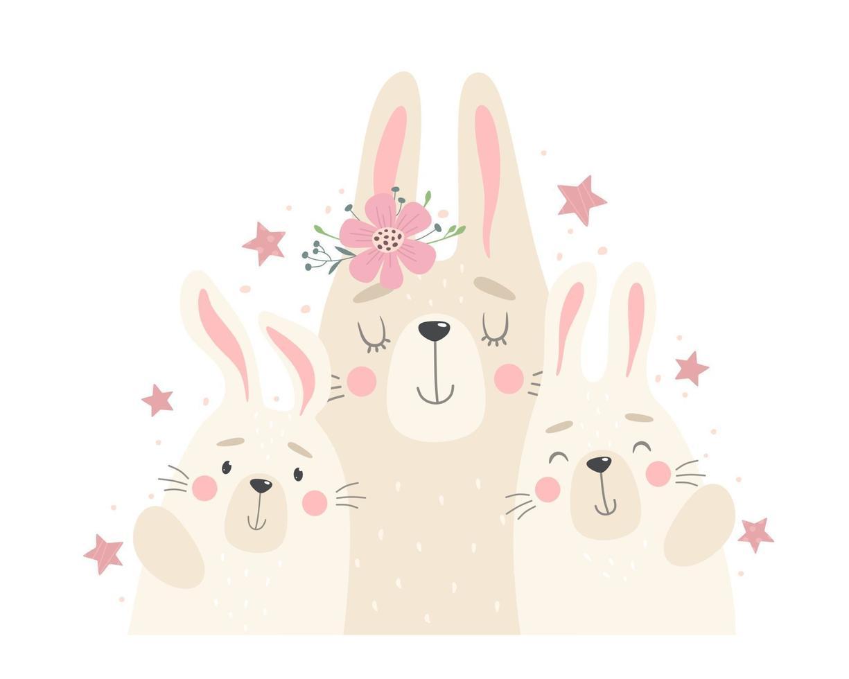 söt familj av kaniner, mamma och kaniner. vektorillustration i tecknad platt stil vektor