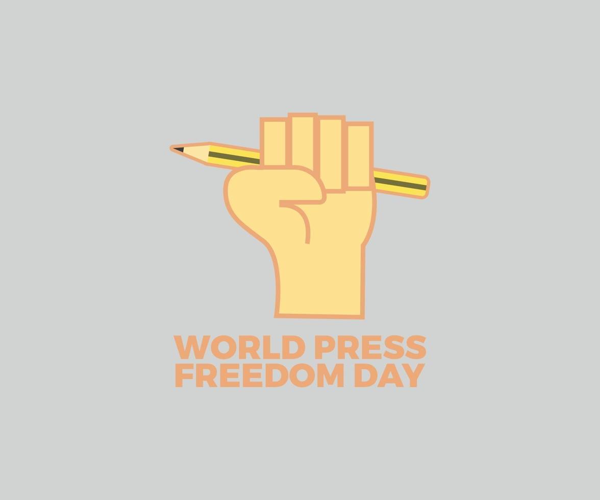 världspress frihetsdag vektor grafisk design med knytnäve och penna