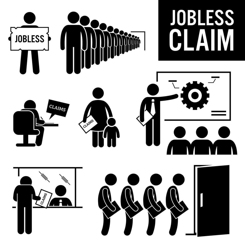 arbetslösa anspråk arbetslöshetsförmån streckfigur piktogram ikoner. vektor