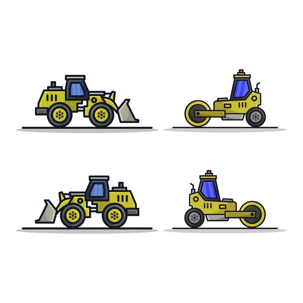 grävmaskin och vägvals vektor