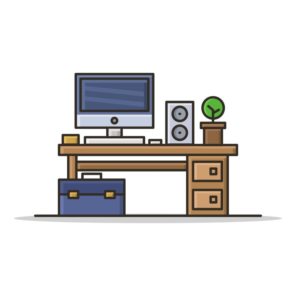 kontorsskrivbord på vit bakgrund vektor
