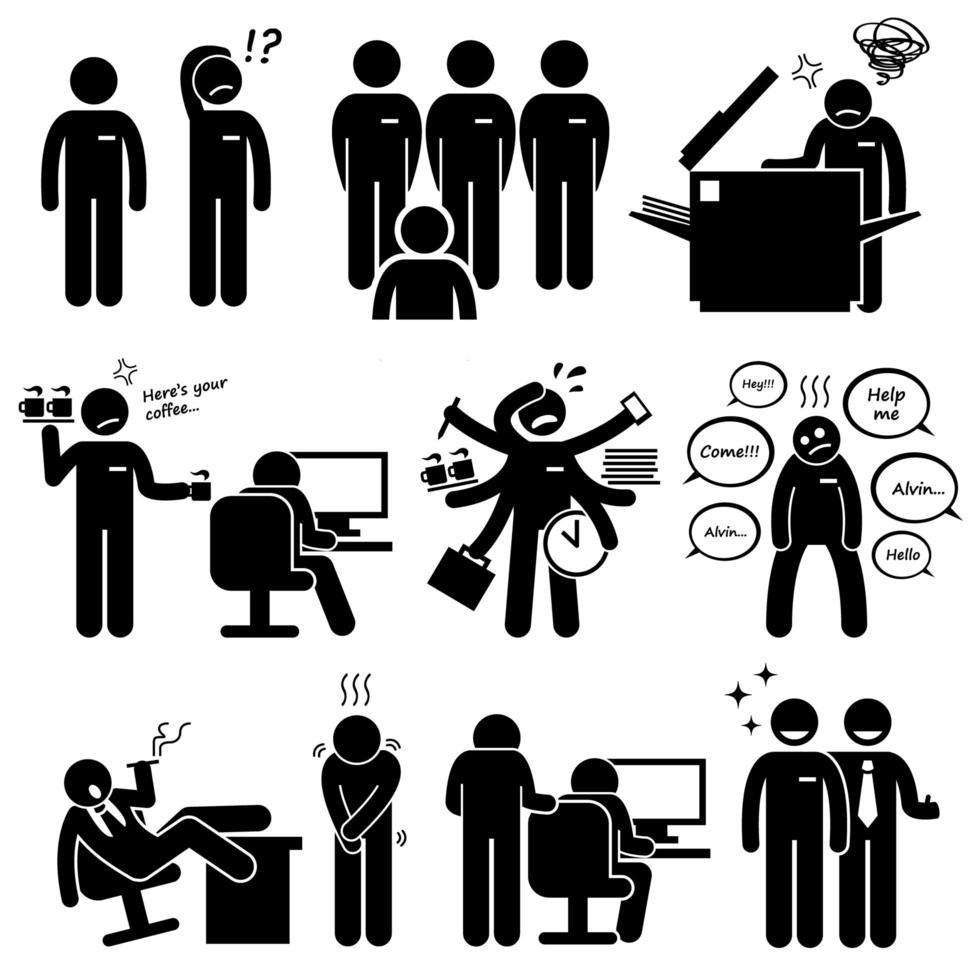 praktikplats nyanställd personal vid kontor arbetsplats piktogram. vektor
