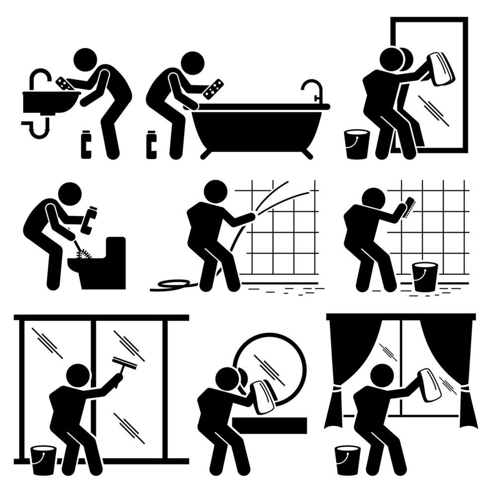 man rengöring badrum toalett fönster och spegel. vektor