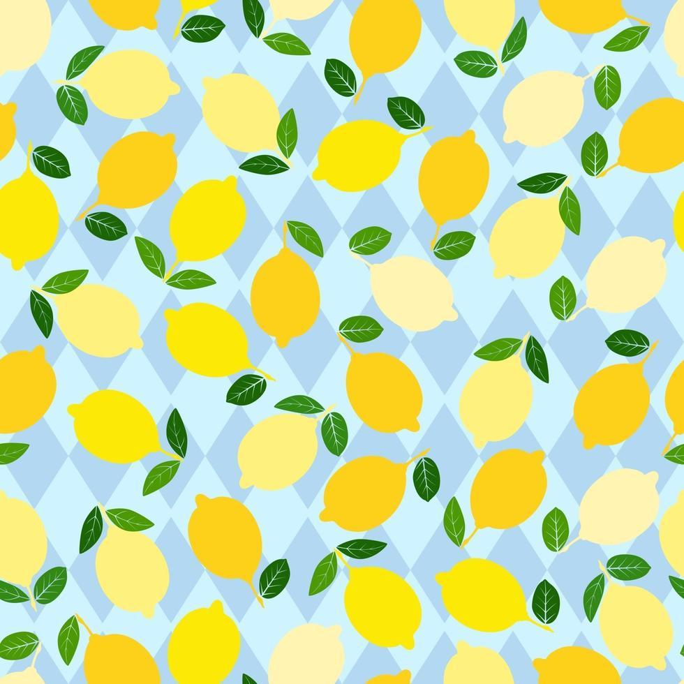 citronmönster. sömlös dekorativ bakgrund med gula citroner. ljus sommar design på en blå romb bakgrund. vektor