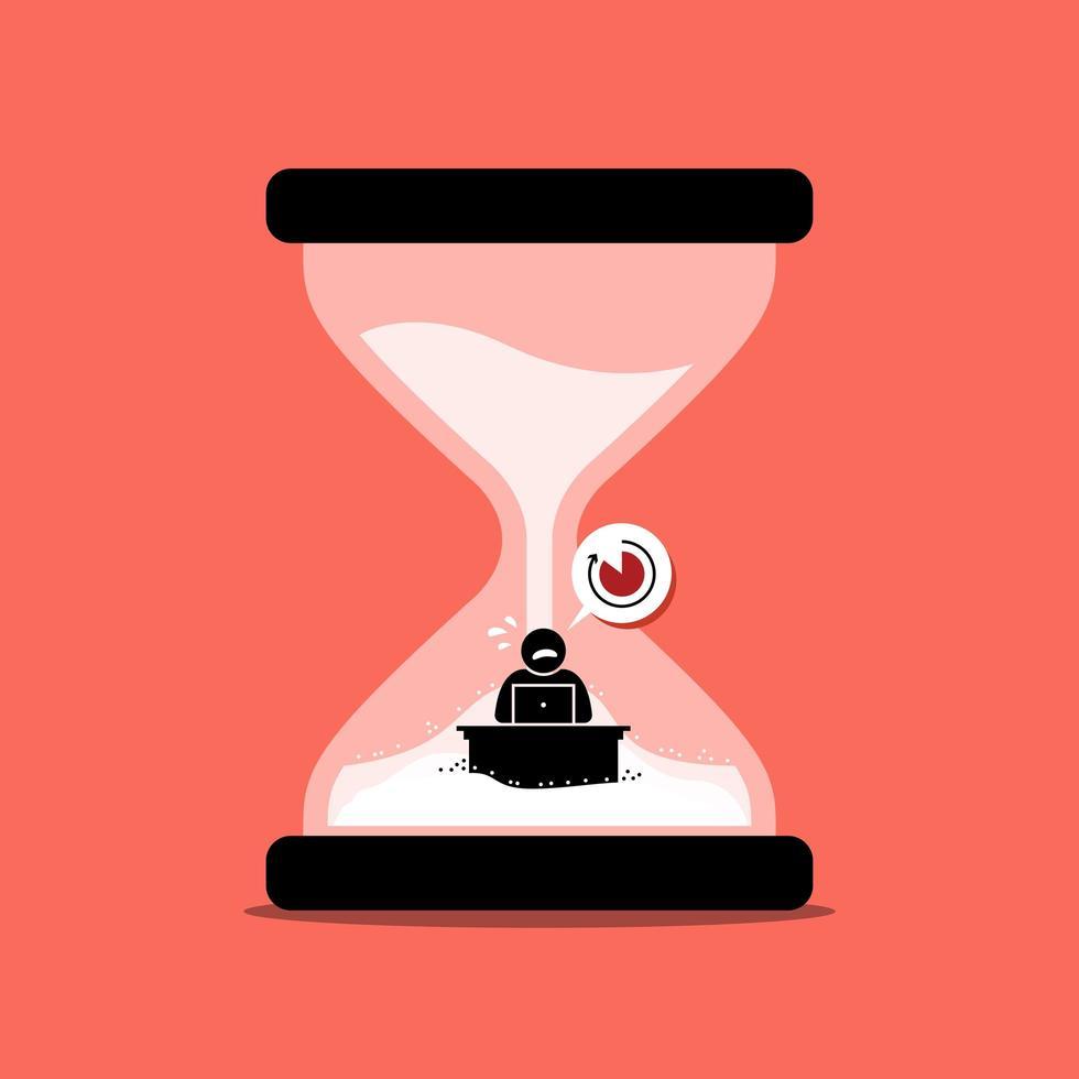 man rusar sitt kontorsarbete inuti en sandklocka eller timglas som representerar deadline. vektor