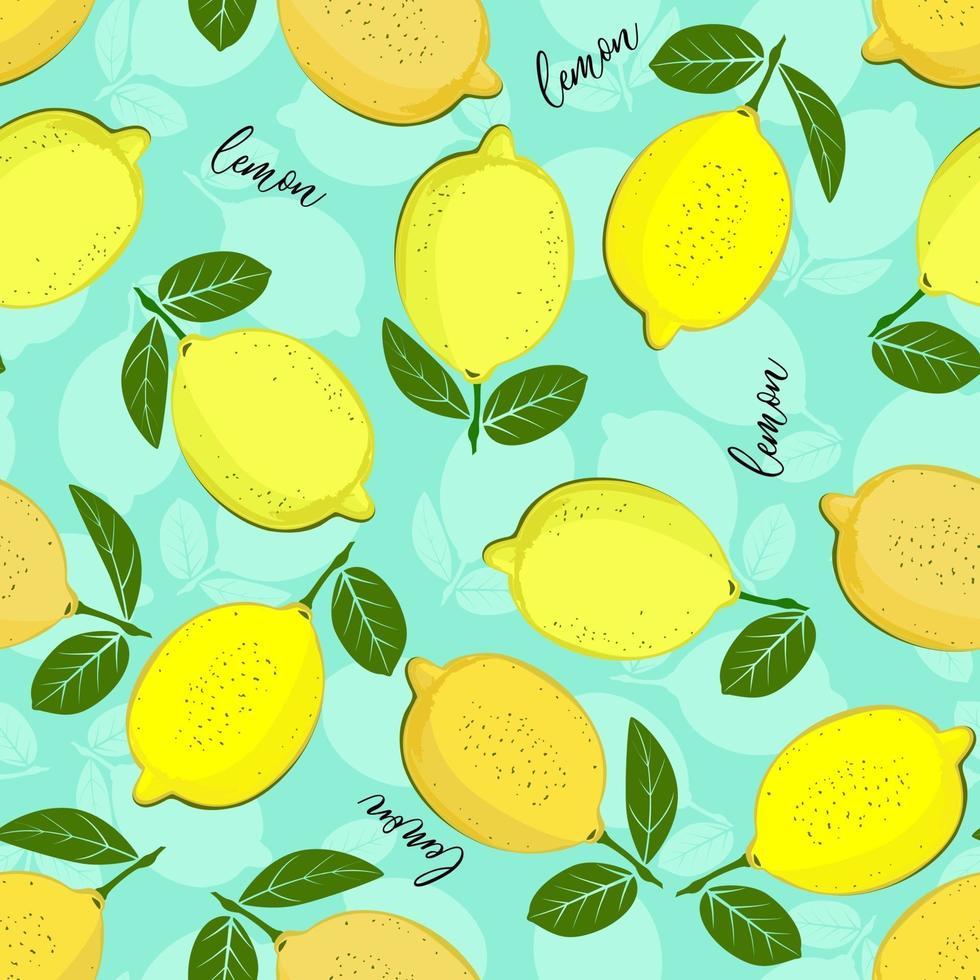 citronmönster. sömlös dekorativ bakgrund med gula citroner. ljus sommardesign på en havsgrön färgbakgrund. vektor