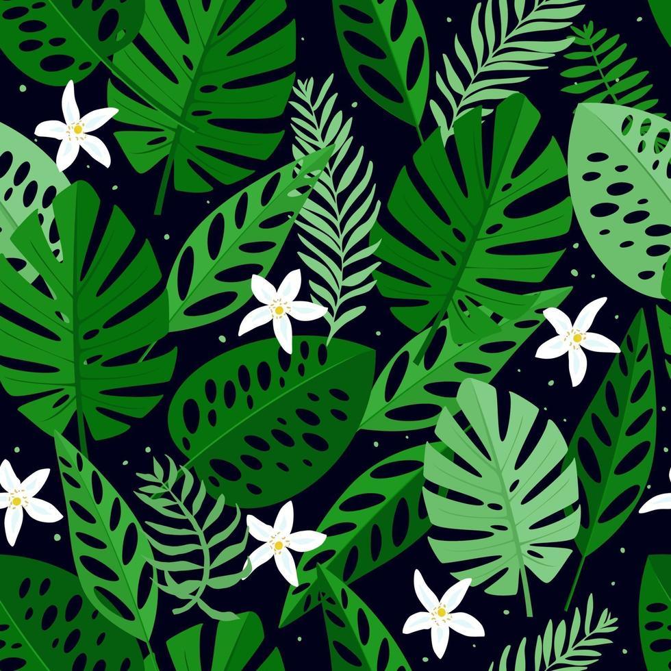 sömlösa mönster med vita blommor och blad. handritad, vektor, ljusa färger. bakgrund för utskrifter, tyg, tapeter, omslagspapper. vektor