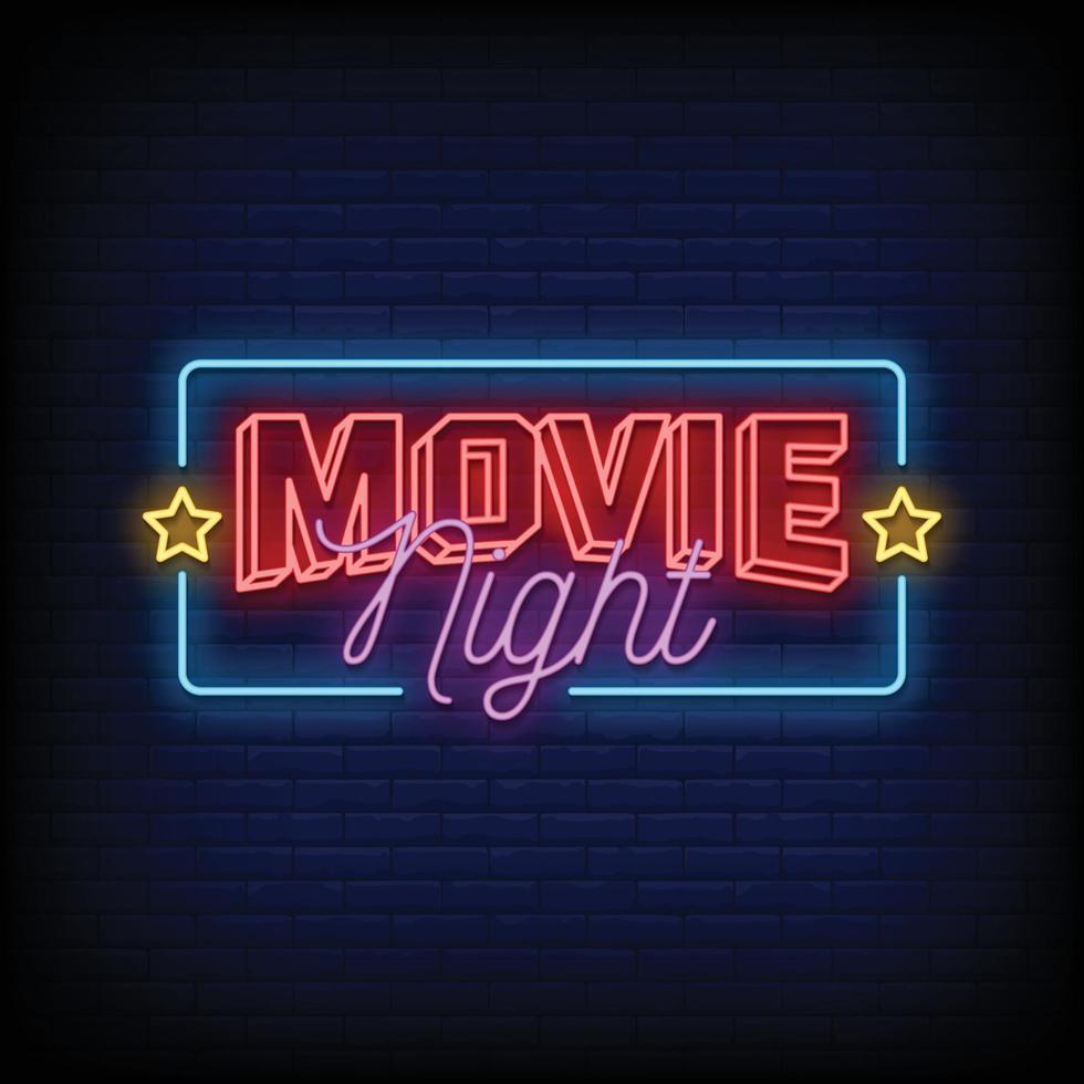 film natt neonskyltar stil text vektor