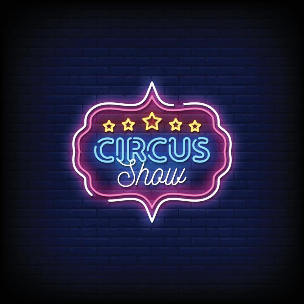 cirkus show neonskyltar stil text vektor