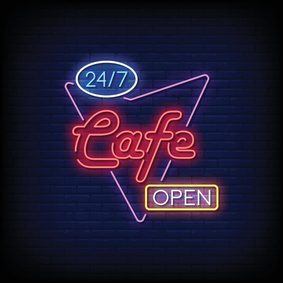 café öppna neonskyltar stil text vektor