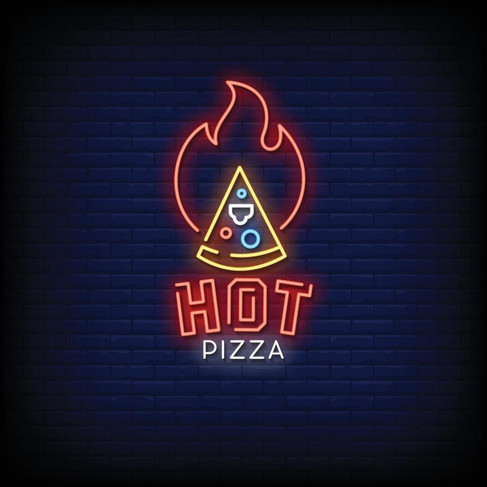 het pizza neonskyltar stil text vektor