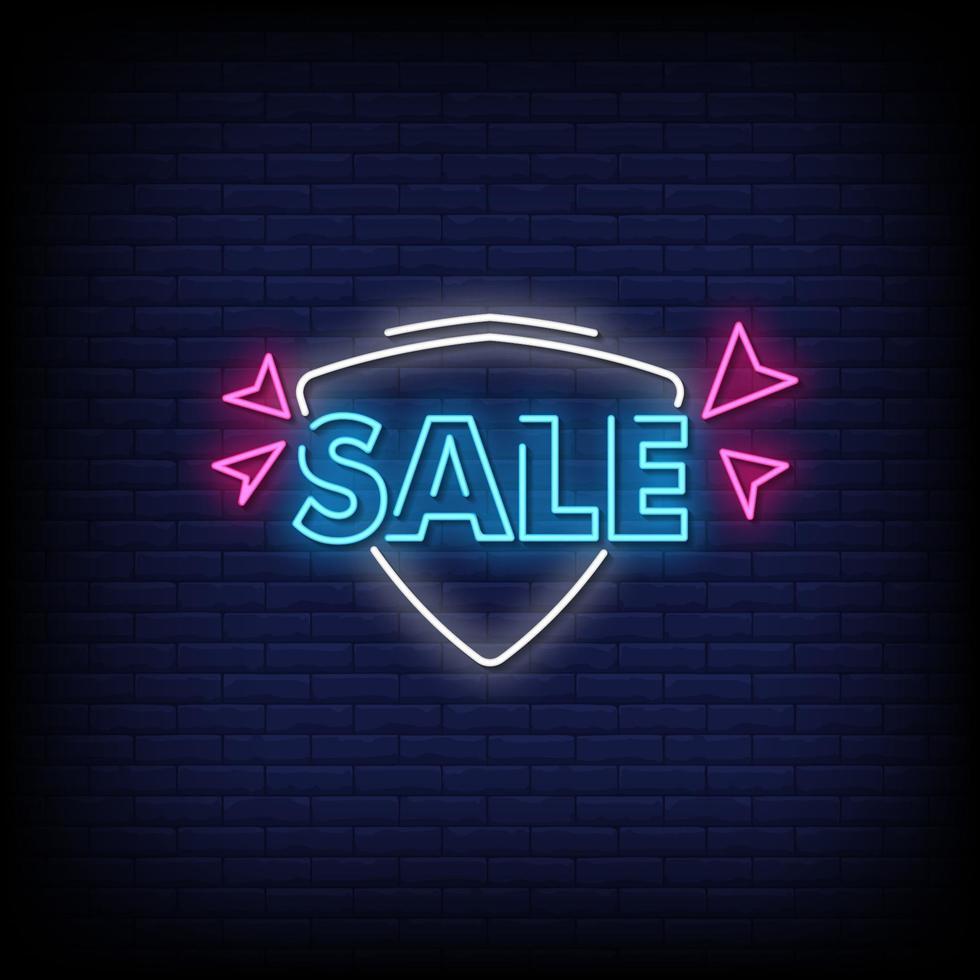 Verkauf Leuchtreklamen Stil Text Vektor