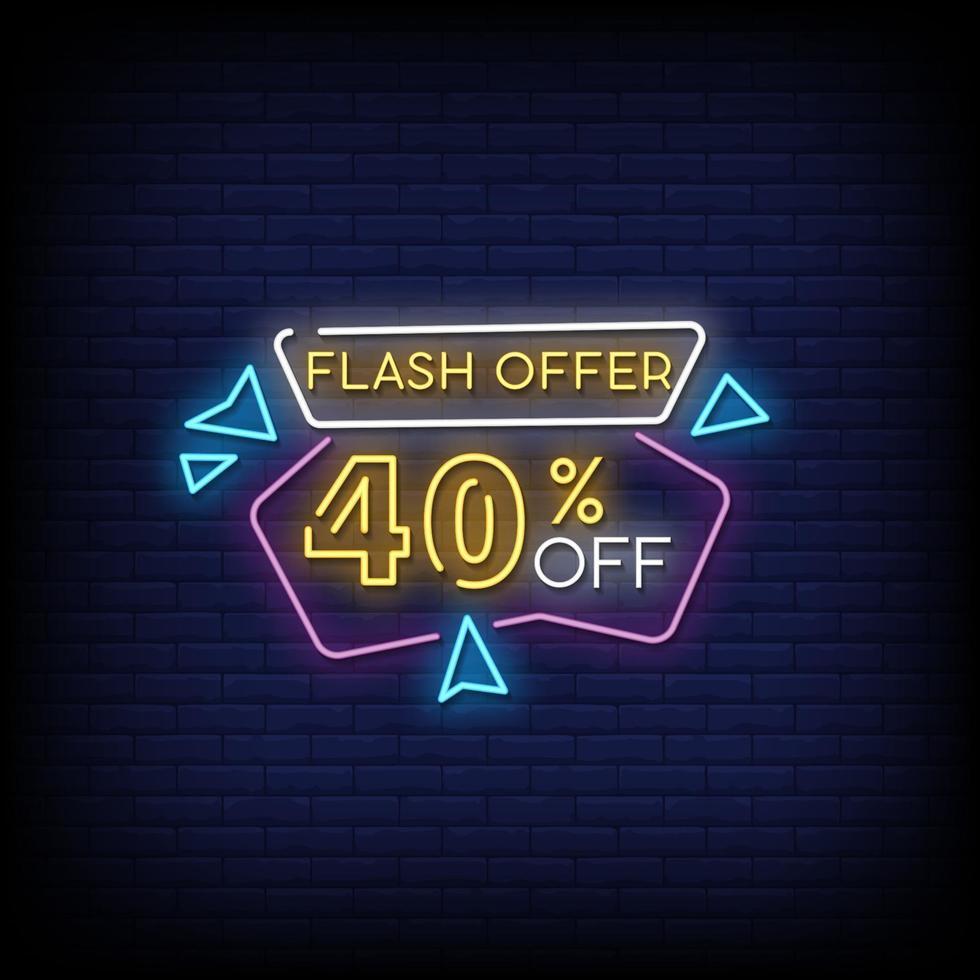 blixt erbjudande neonskyltar stil text vektor