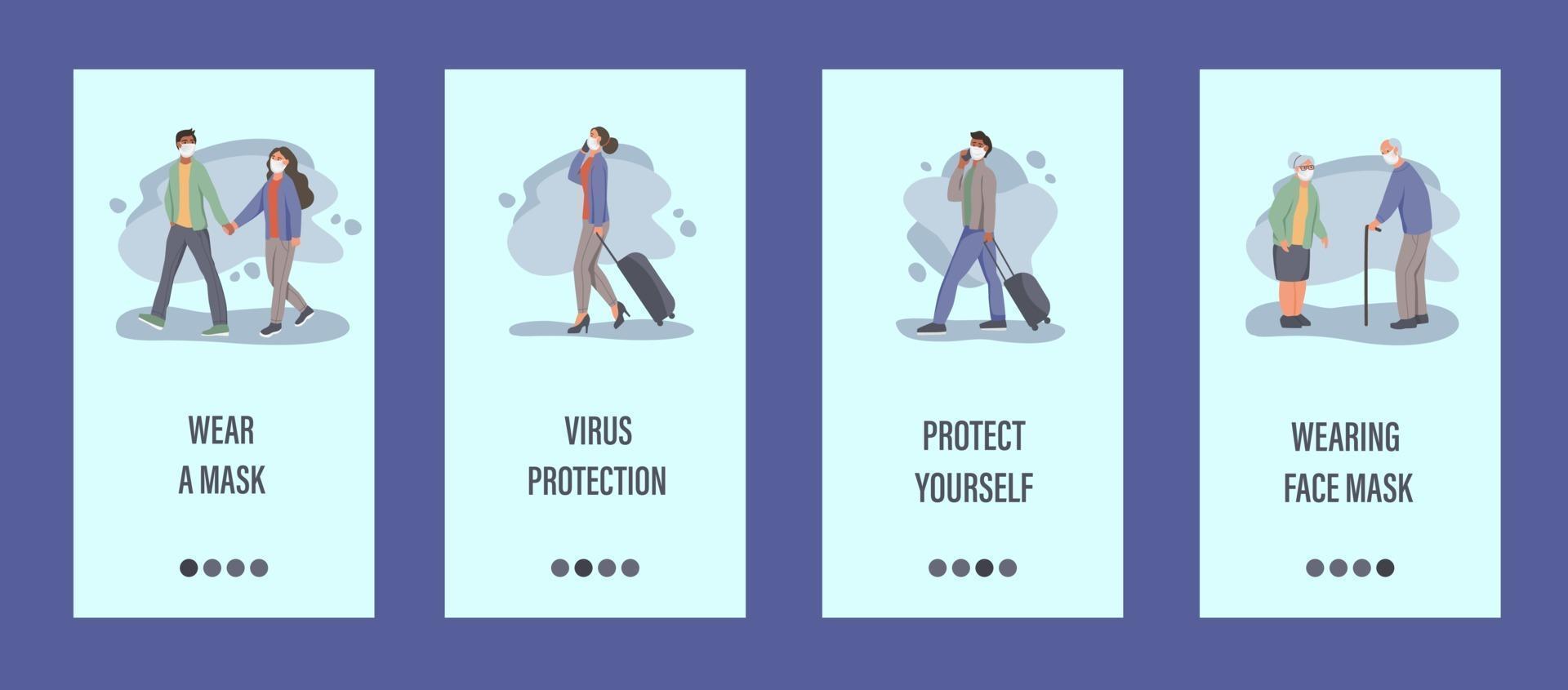 människor bär masker mobil app mall. begreppet epidemiskontroll, luftföroreningar, covid-19. platt vektorillustration. vektor