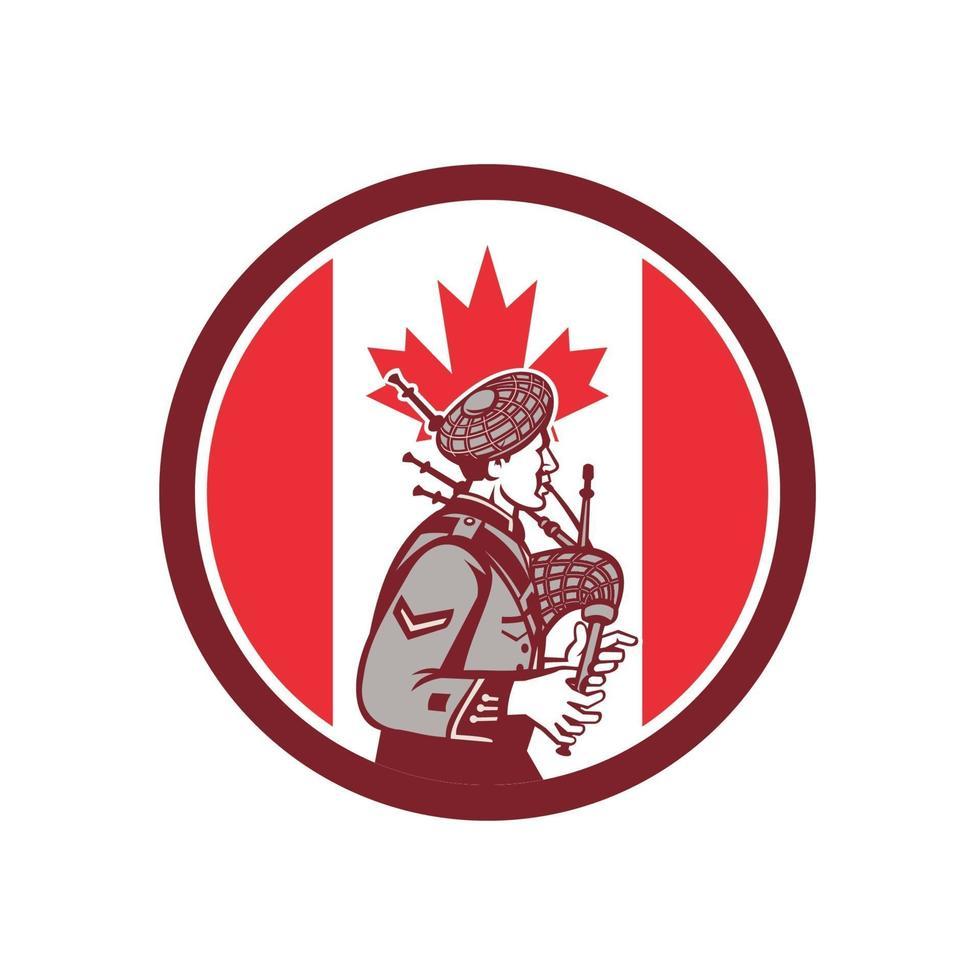 bagpiper skotsk logotyp med kanadas flagga vektor