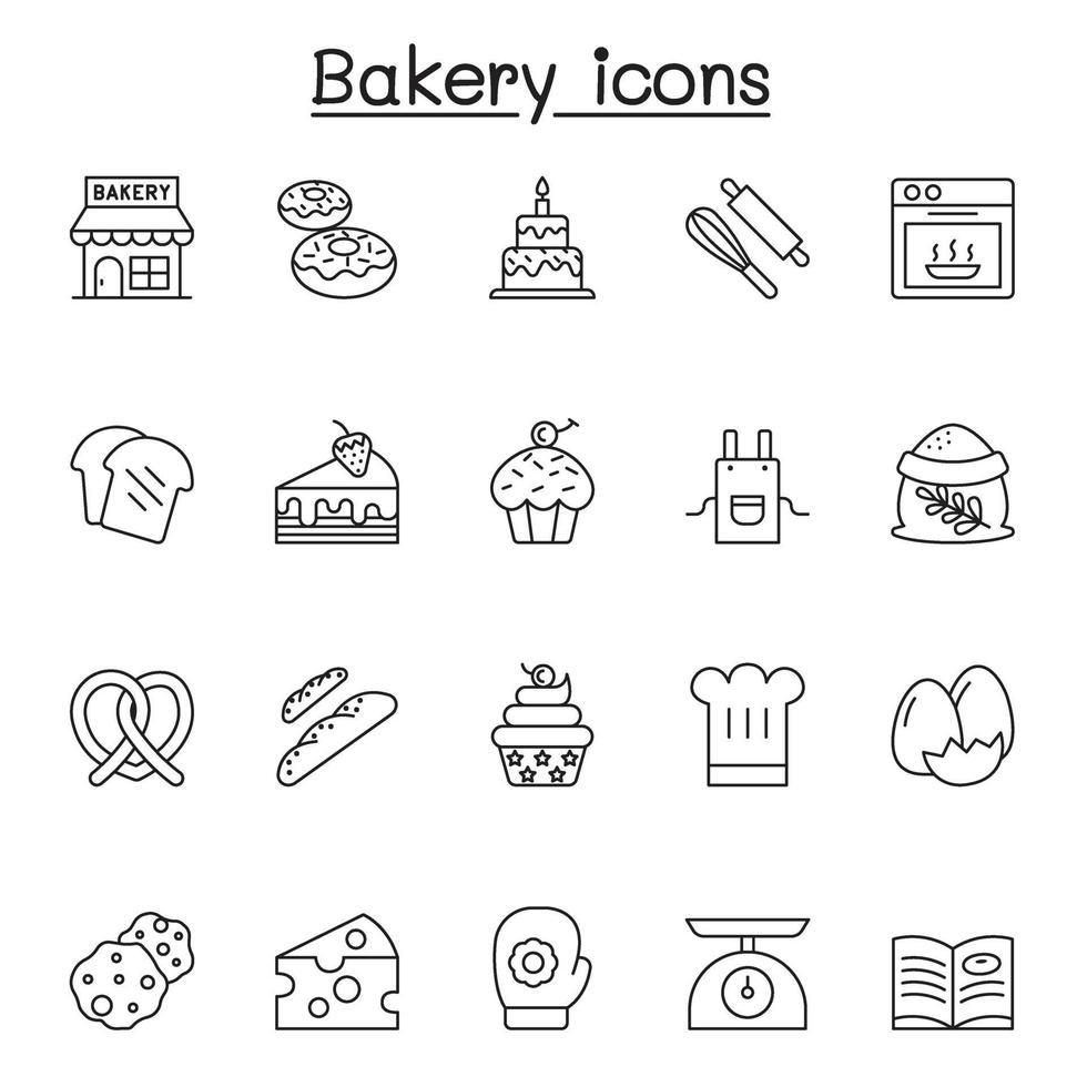 bageri ikoner i tunn linje stil vektor