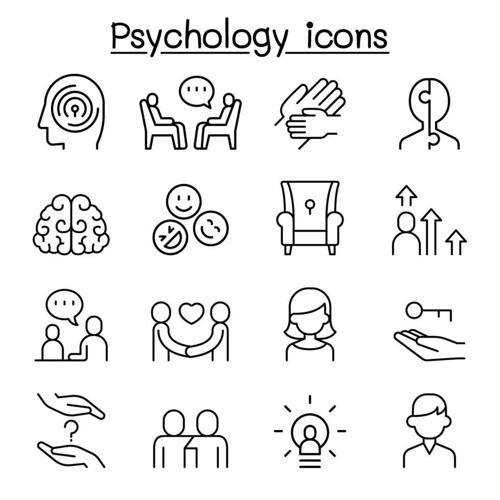 psykologi ikonuppsättning i tunn linje stil vektor