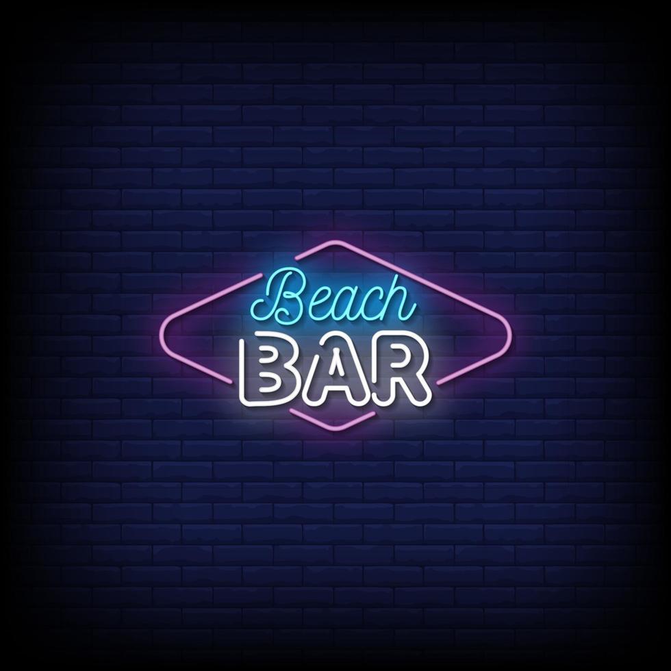strand bar neonskyltar stil text vektor