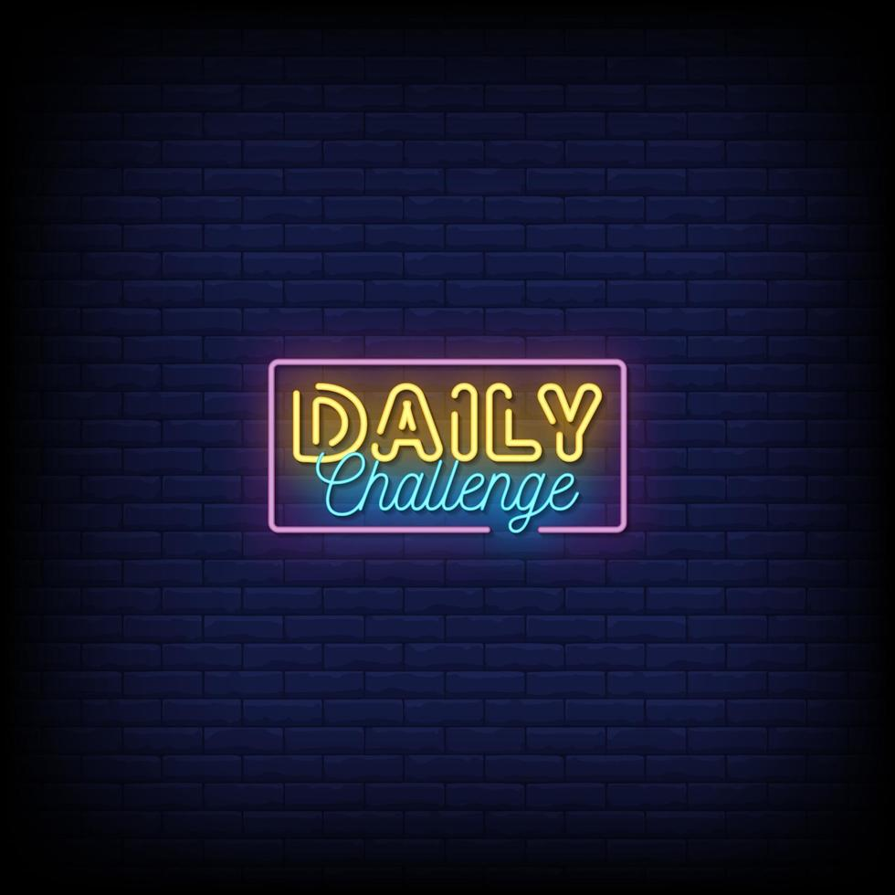dagliga utmaning neonskyltar stil text vektor