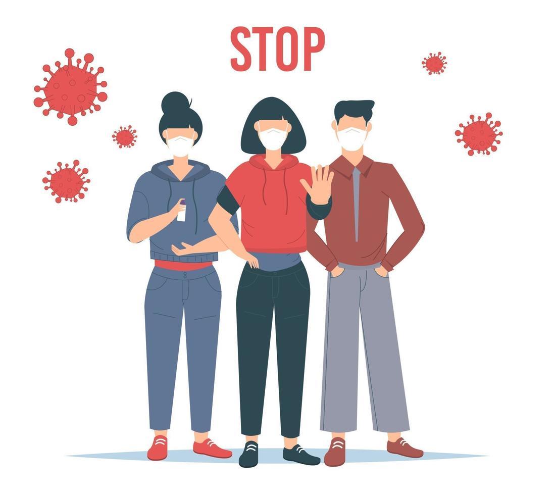 stoppa koronavirus. covid-19 utbrott vektor illustratin. människor som bär ansiktsmask.