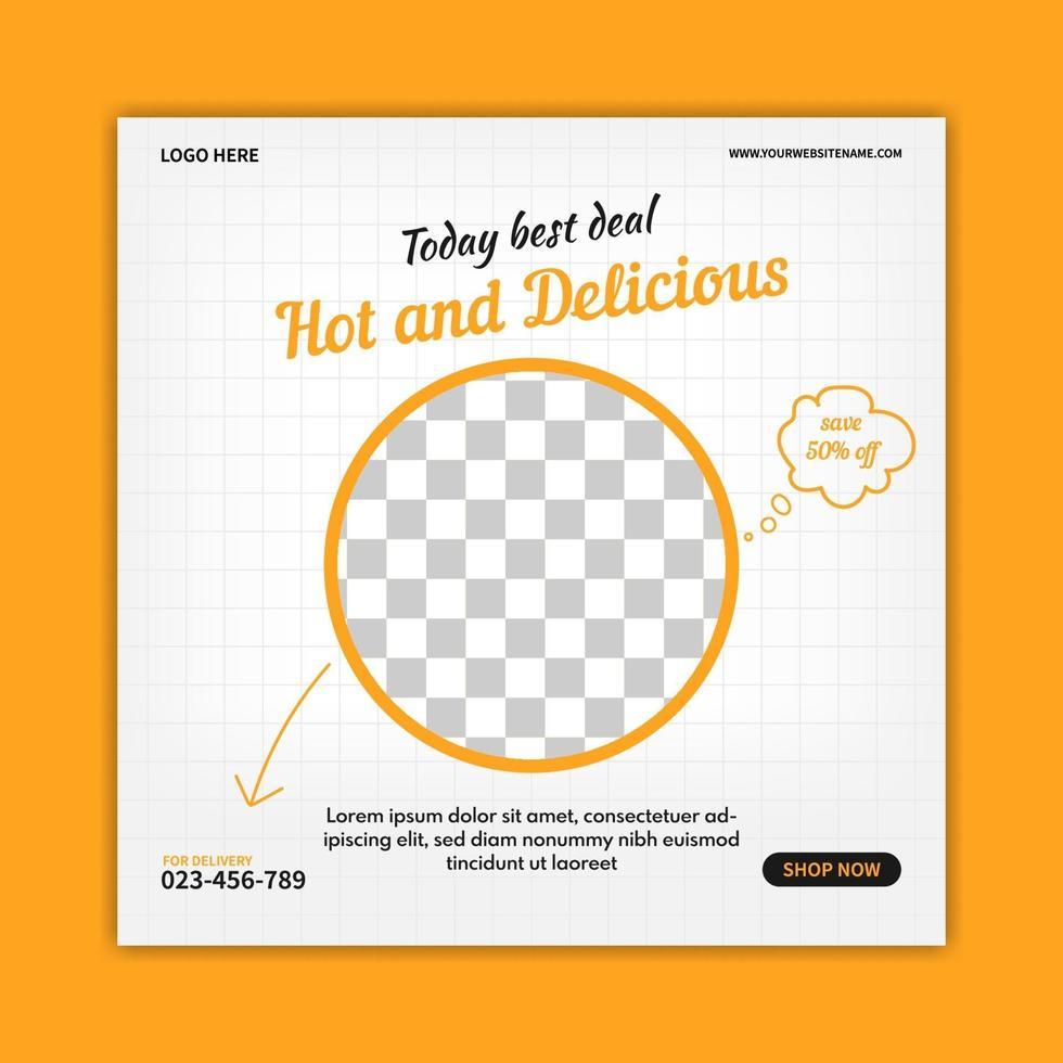 kreativ mat banner mall för sociala medier post. webb banner reklam. online-annonseringsvektor vektor