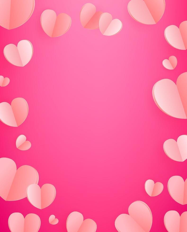 vektor bakgrund av rosa hjärtan. mall för gratulationskort, omslag, presentation