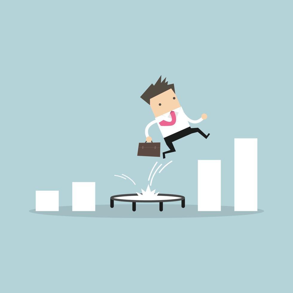 affärsman hoppar från studsmatta tillbaka till toppen av växande stapeldiagram. vektor