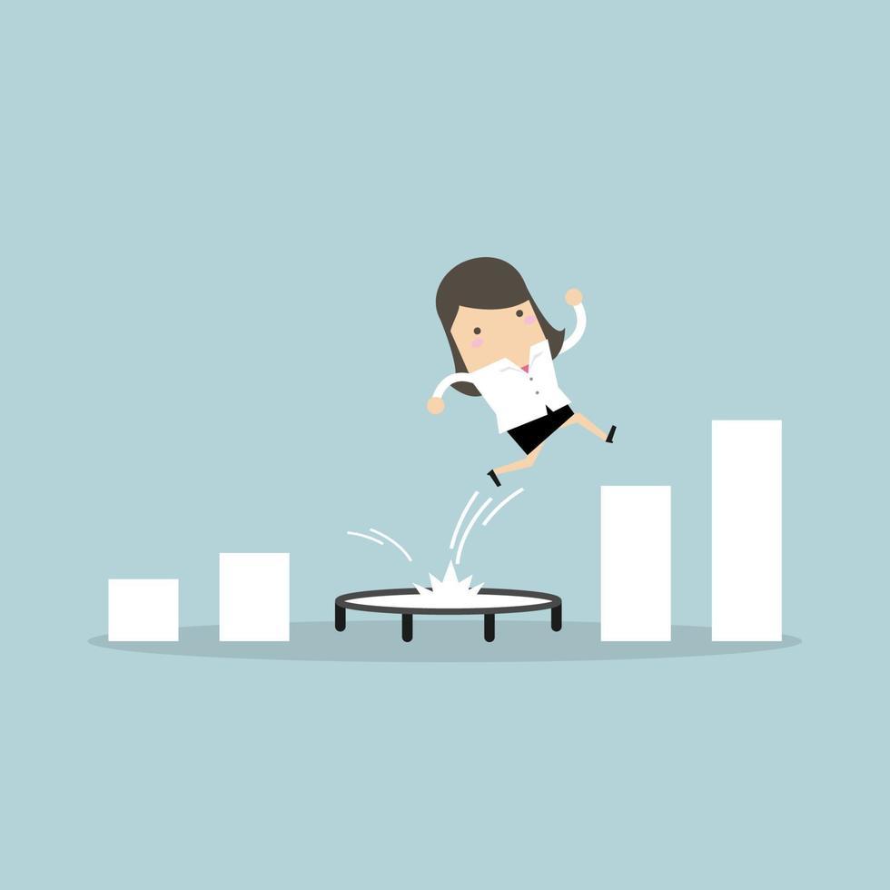 affärskvinna som hoppar från studsmattan tillbaka till toppen av växande stapeldiagram. vektor