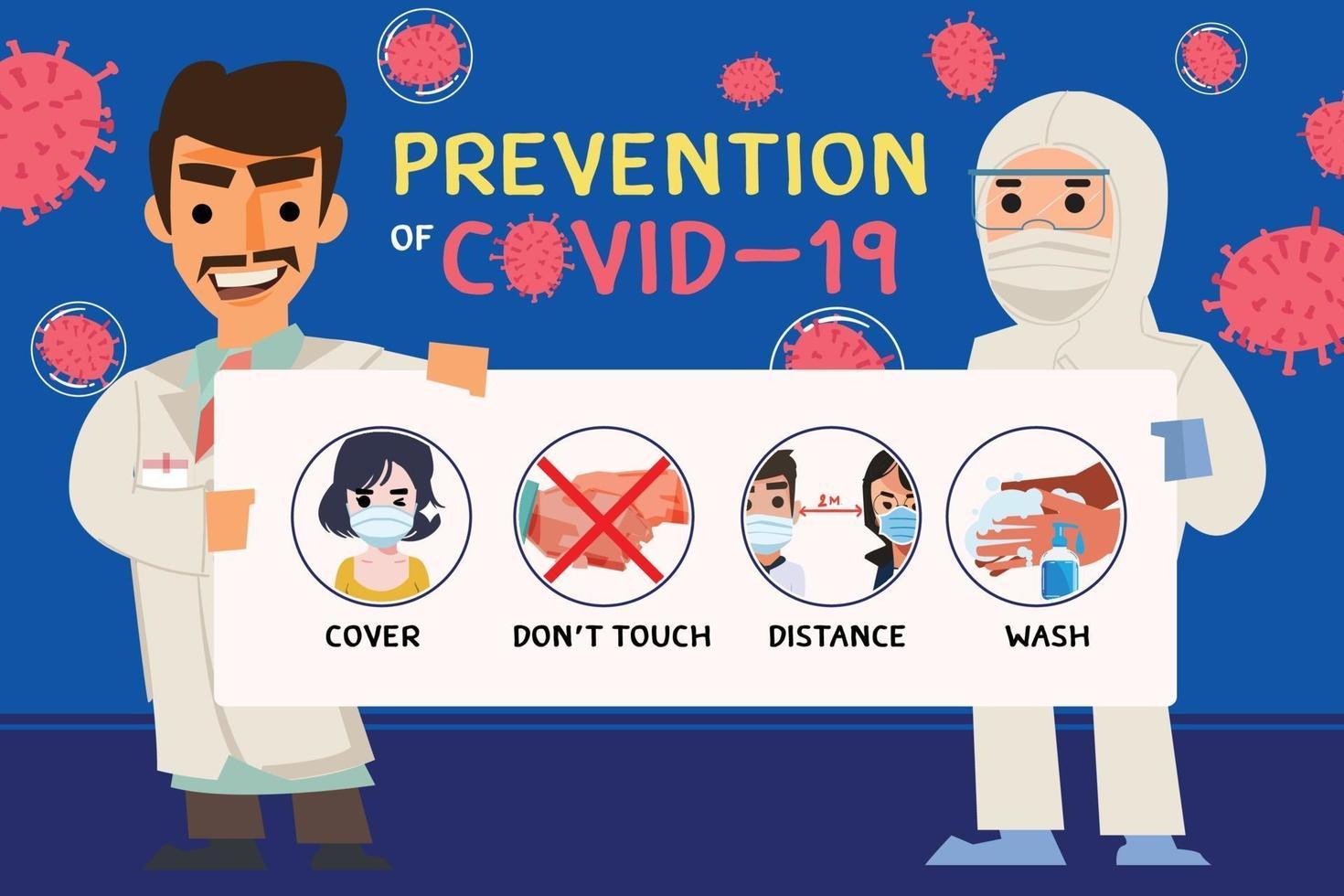 läkare som håller informationspapper med tips om förebyggande av covid-19 vektor