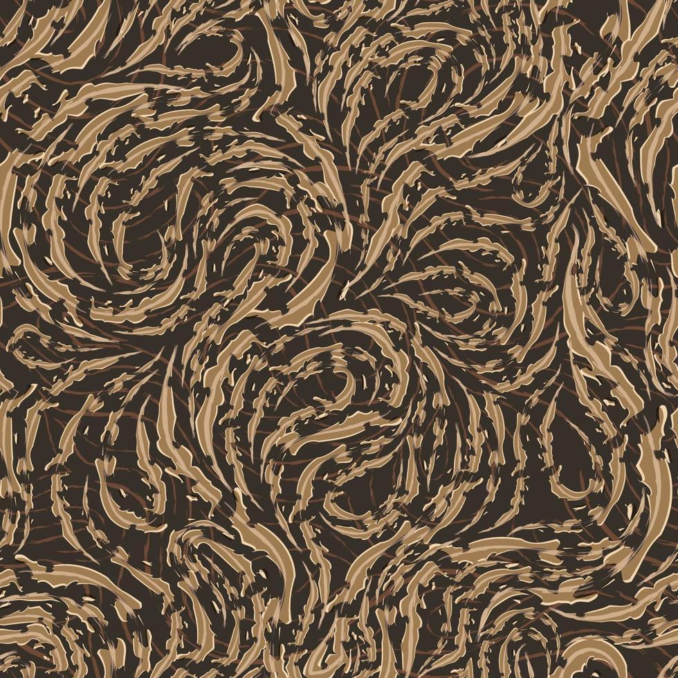 sömlös vektormönster av släta beige flytande linjer med sönderrivna kanter. textur av trä eller marmorfibrer. vektor