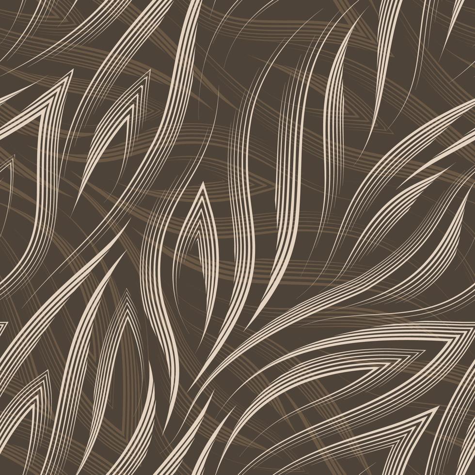 Vektor nahtloses Muster von beigen Linien und Ecken auf einem braunen Hintergrund. Textur fließender Formen und Linien für den Fluss des Meeres in Pastellfarben